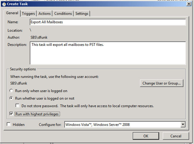 Exporting Mailboxes to PST (ExMerge) on SBS 2011 – Scheduled