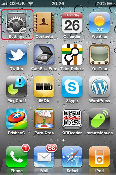 iPhone home screen and settings