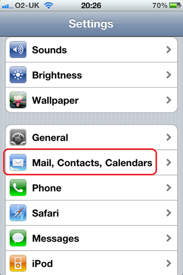 iPhone settings mail contacts calendars