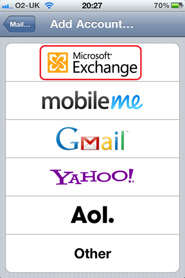 Add Microsoft Exchange