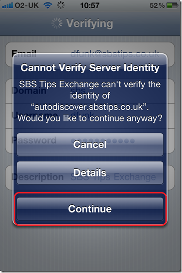 SBS 2011 Standard – iPhone & iPad Exchange Email | Title (Required)