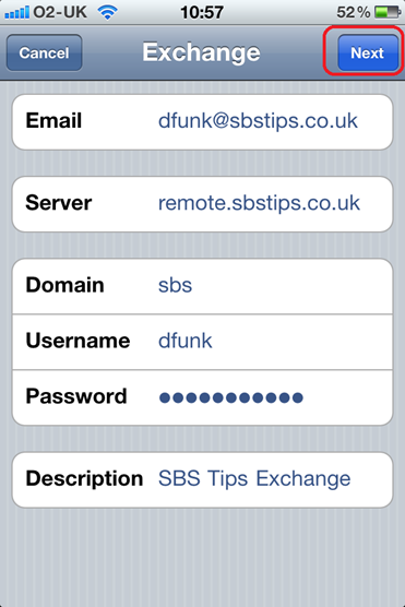 iPhone Exchange Email Server Address