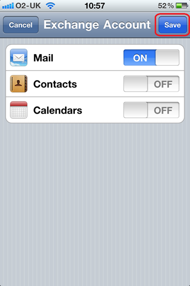 iPhone Exchange Email choose items to sync