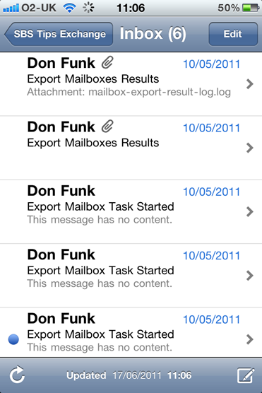 iPhone Exchange Email Syncd