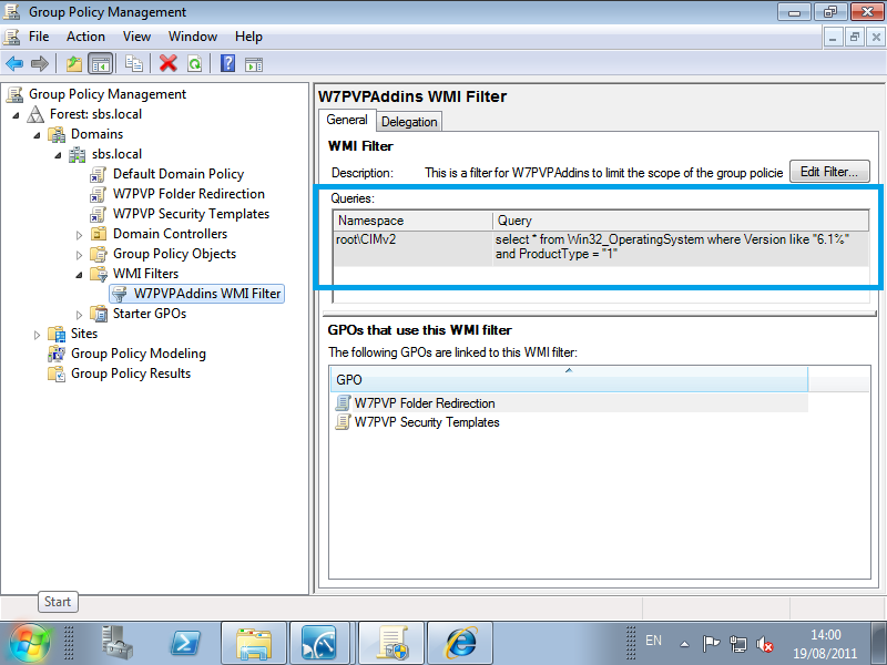 WMI Filters, Windows 7 Professional Pack & SBS 2011 Essentials