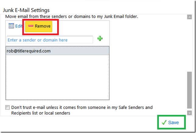Remove Blocked Sender