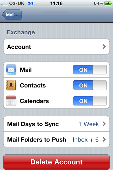 iPhone Exchange Email Account Settings