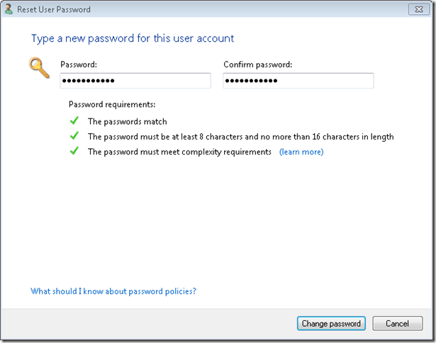 9.change password