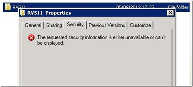 Requested Security Information is either unavailable or cant be displayed