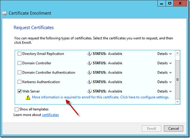 Enable directaccess on windows server 2012 essentials title required under subject name use the dropdown menu to select common name and in the value box enter a name for your directaccess certificate yelopaper Choice Image