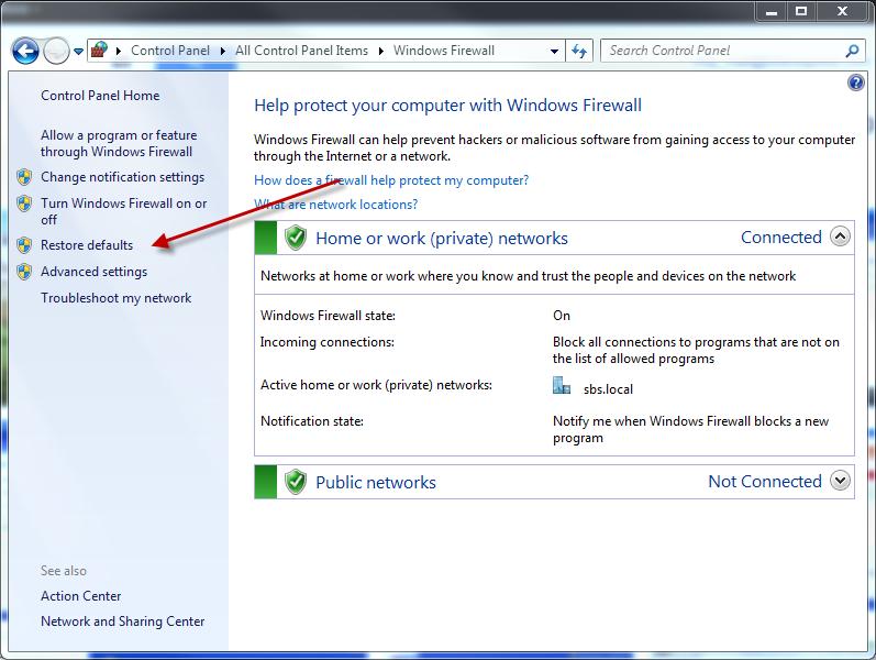 Quick Fix: Reset Windows Firewall SBS & Windows Server