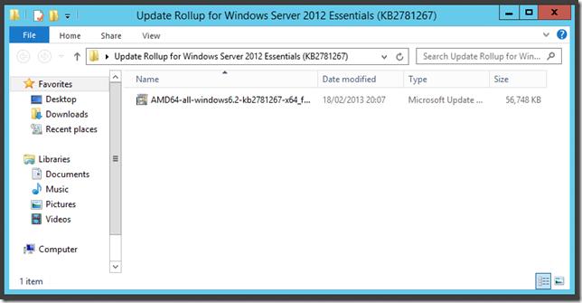 Update Rollup 1 Windows Server 2012 Essentials Transmog