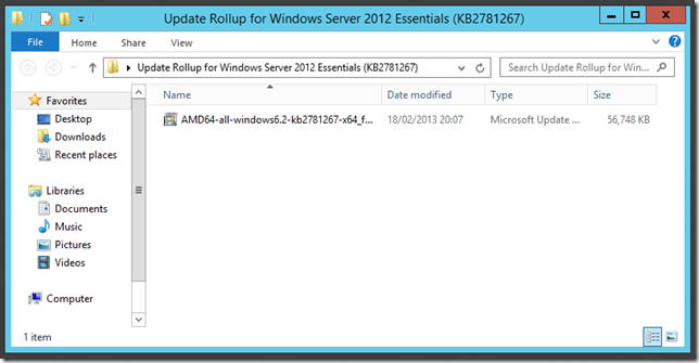 Update Rollup 1 Windows Server 2012 Essentials Transmog