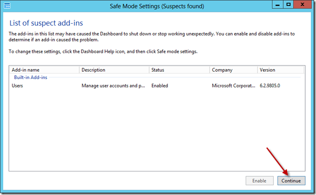 Windows Server 2012 Essentials Dashboard Safe Mode