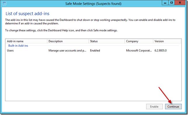 Windows Server 2012 Essentials Dashboard Safe Mode
