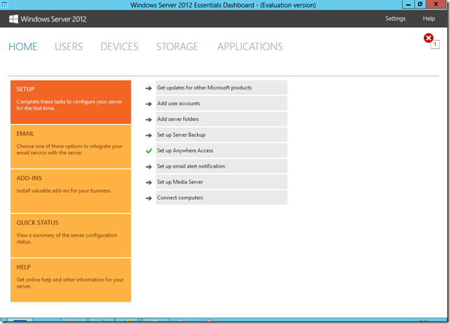 Windows Server 2012 Essentials Dashboard