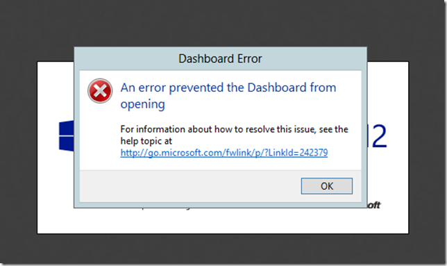 Essentials 2012 Dashboard Error