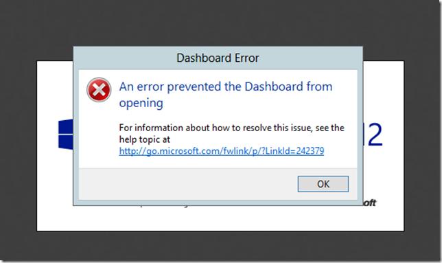 Essentials 2012 Dashboard Error