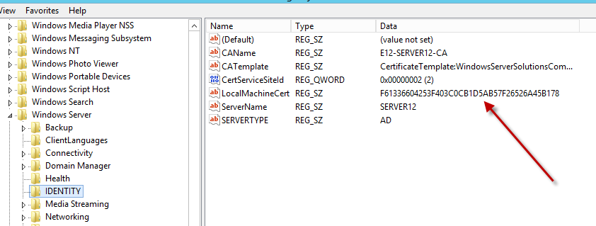 Windows server 2012 essentials an error prevented the dashboard essentials 2012 registry identity yelopaper Choice Image