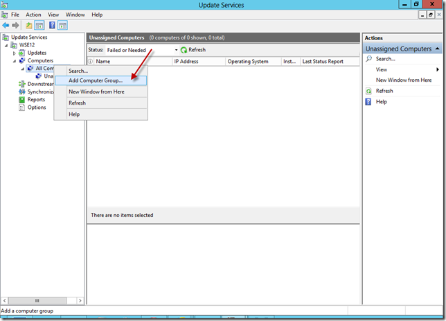 Configure WSUS Add Computer Group