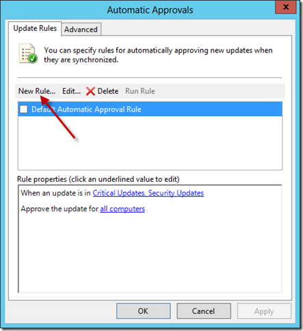 Configure WSUS Auto Approval Rule