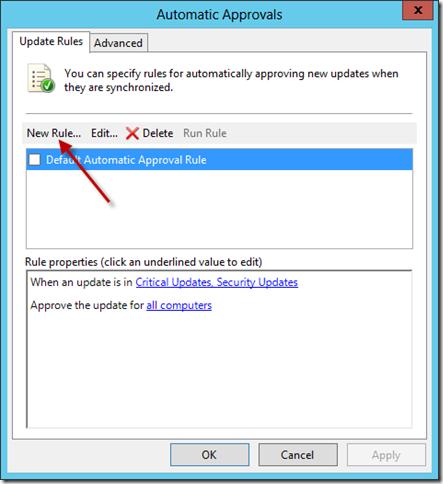 Configure WSUS Auto Approval Rule