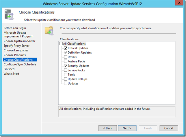 Enable WSUS on Server 2012 Essentials Classifications