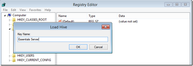Installation Repair Registry Editor Load Hive Browse System Name Key