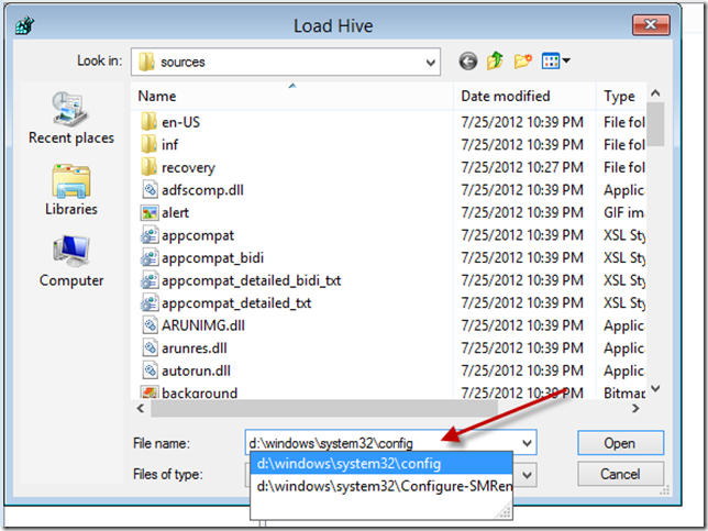 Installation Repair Registry Editor Load Hive Browse
