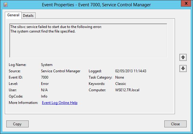 Windows Server 2012 Essentials : After Transmog SILSVC Error