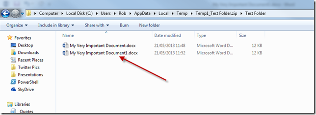 temp zip folder file path files