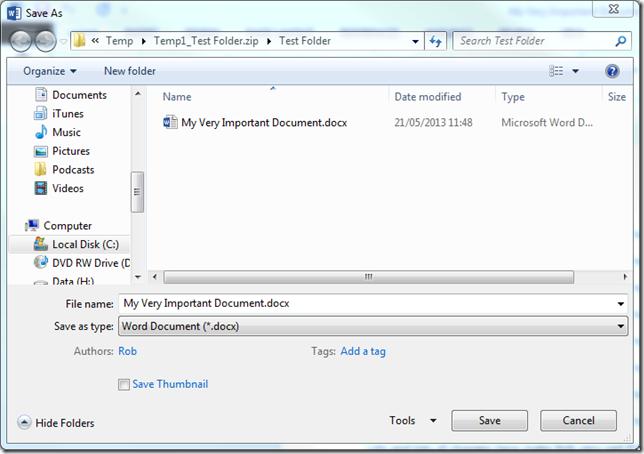 Temp Zip Folder Path