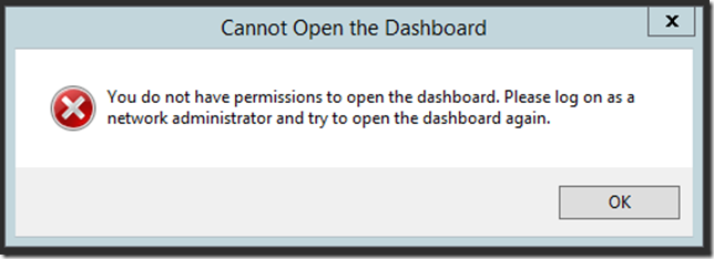 You do not have permission to open the dashboard