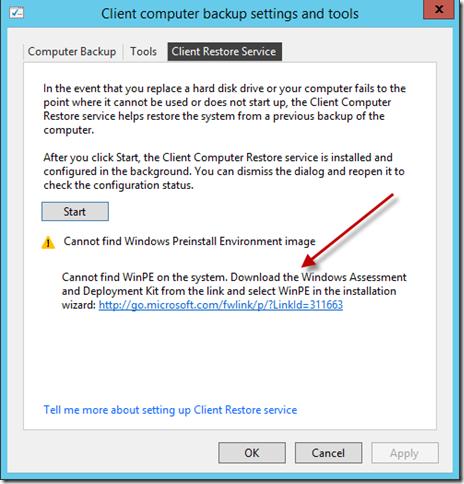 Restore Service WinPE Error