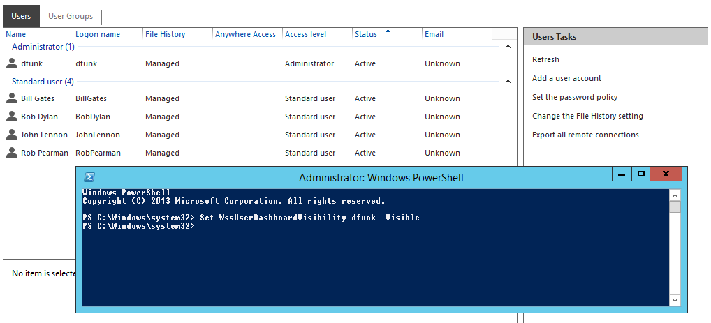 Quick Fix: Hide users from Essentials 2012 R2 Dashboard