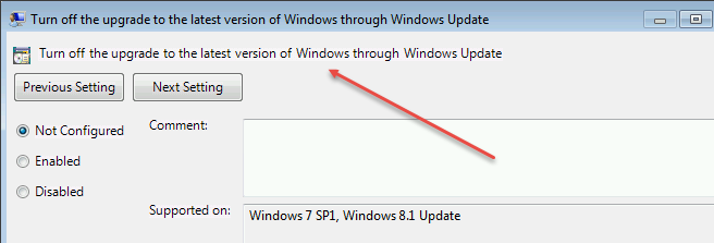 Turn off the Upgrade to the latest version of Windows GPO | Title ...