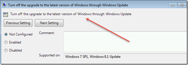 Turn off the upgrade to the latest version of Windows through Windows Update snip