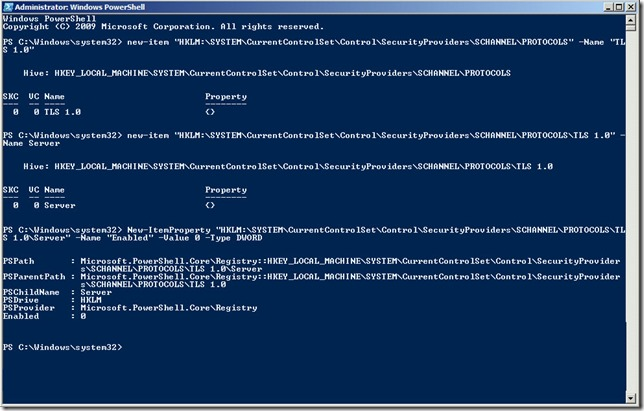 Disable TLS PowerShell
