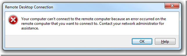 Cannot connet to the remote computer because of an error