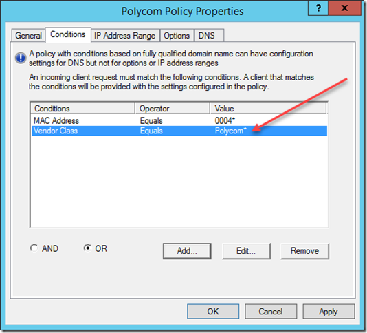 DHCP Policies Wildcard