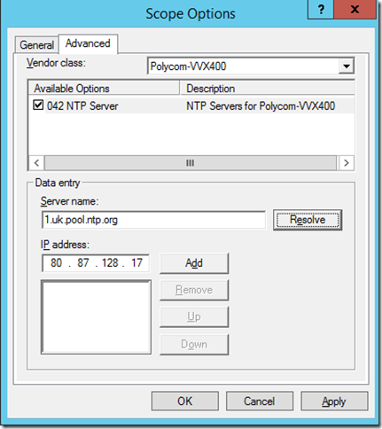 DHCP Scope Option 042