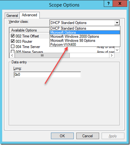 DHCP Scope Option Vendor Class