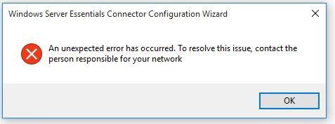 Windows Server Essentials Connector An Unexpected Error